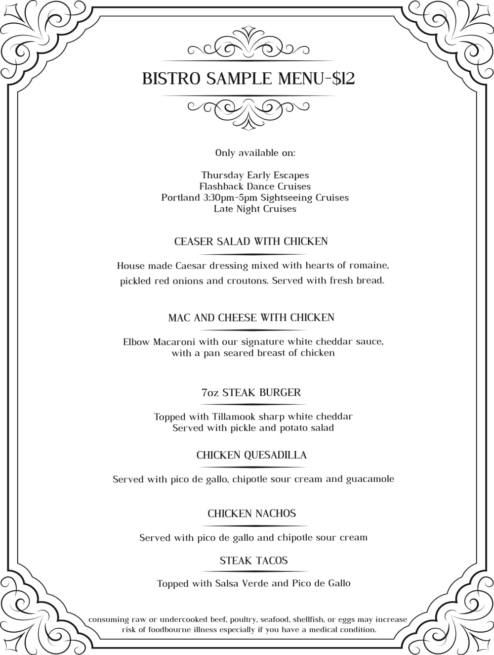Porltand bistro sample menu
