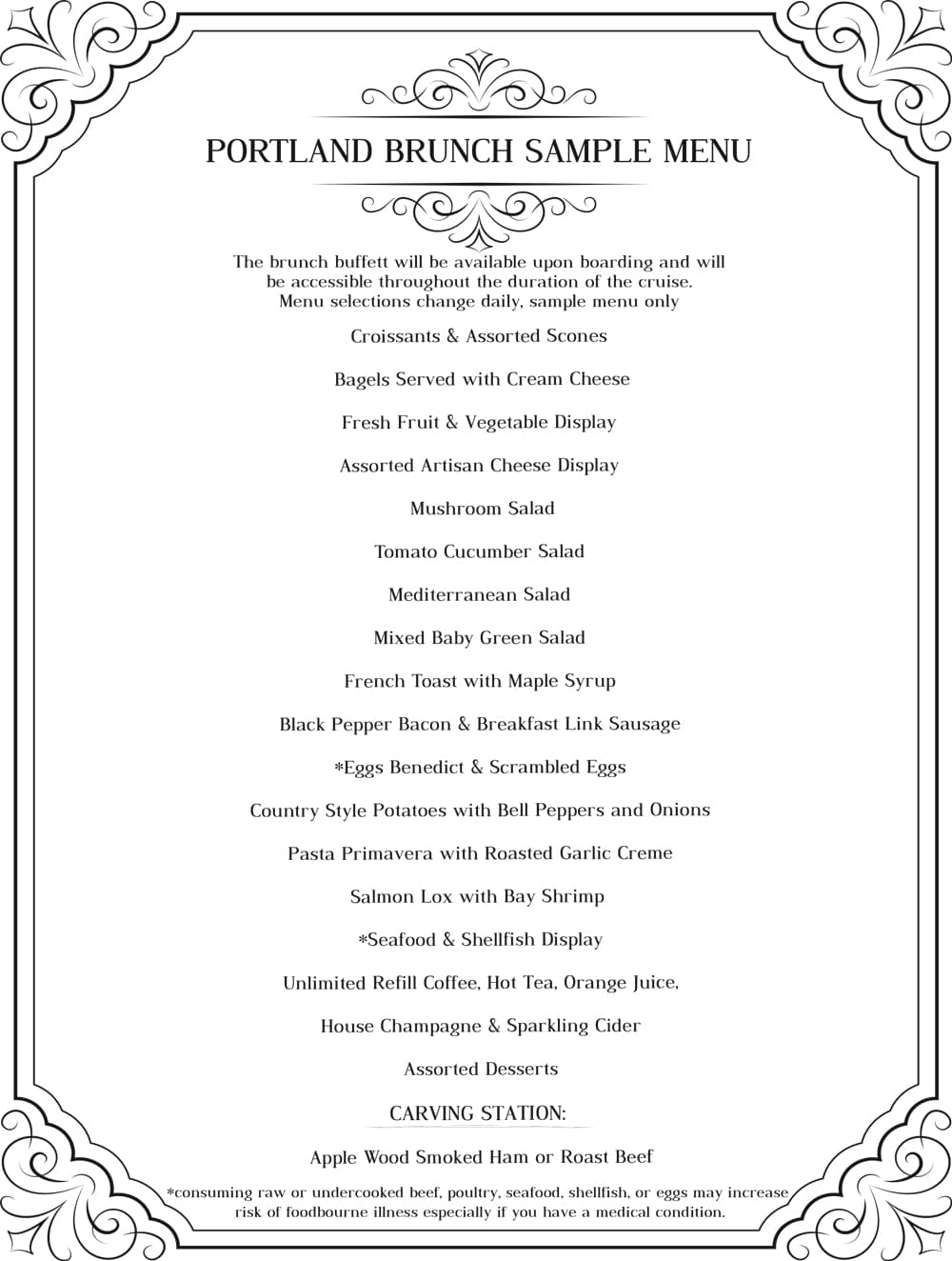 Porltand Brunch sample menu