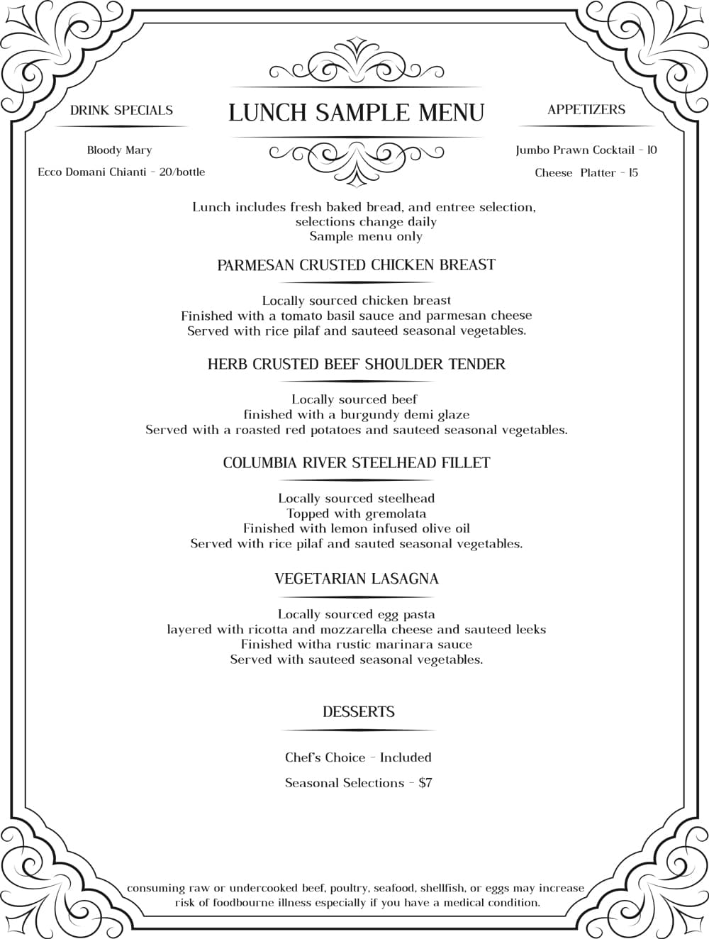 Porltand dinner sample menu