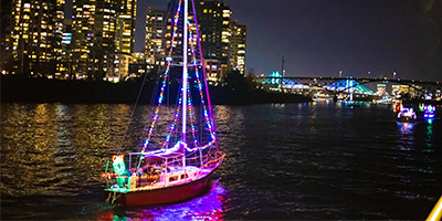 Christmas Ships cruising on the Willamette River