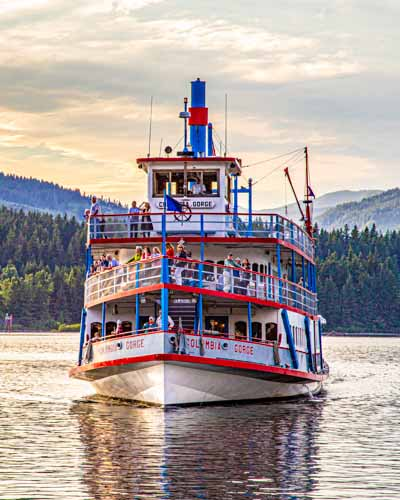 The Columbia Gorge Sternwheeler cruising near Cascade Locks