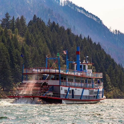 The Columbia Gorge Sternwheeler heading west
